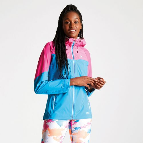 Dare2b Women's Reconfine Lightweight Hooded Waterproof Jacket Blue Jewel Cyber Pink